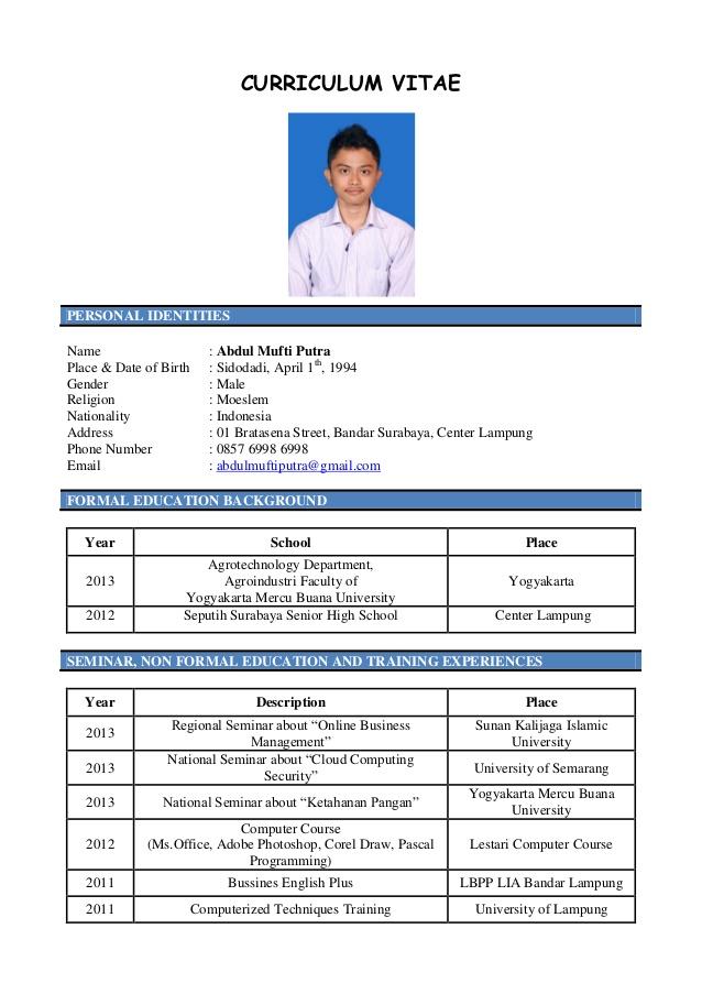 Format Curriculum Vitae Yang Baik Dan Menarik Create Professional