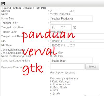 gambar Verval GTK Untuk Usul NUPTK Terbaru Dari PDSPK