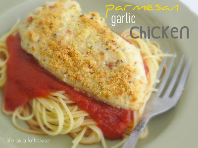 Chicken full of garlic and parmesan flavor and made with only 4 ingredients. Life-in-the-Lofthouse.com