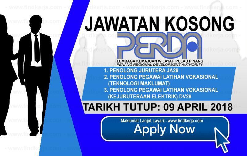 Jawatan Kerja Kosong PERDA - Lembaga Kemajuan Wilayah Pulau Pinang logo www.findkerja.com april 2018