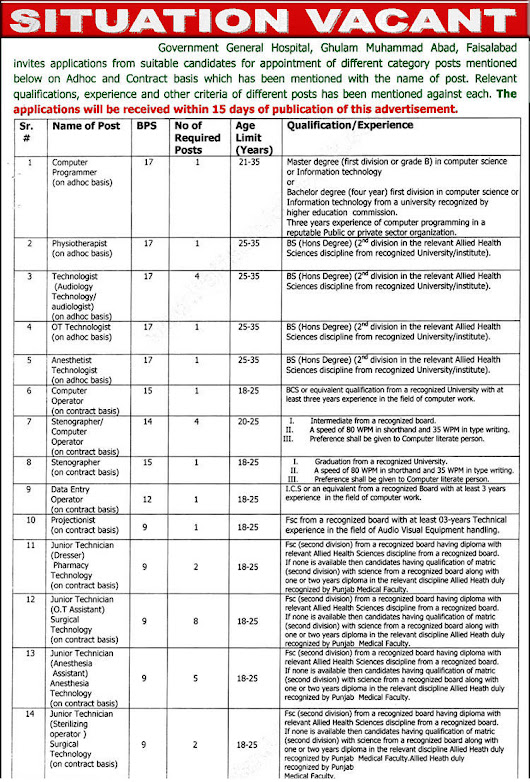 Government General Hospital Faisalabad Jobs October 2017 Ward Servants, Stretcher Bearers & Others Latest