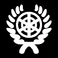 The diplomacy icon: a radar screen inside a laurel wreath (similar to the icon of the United Nations)