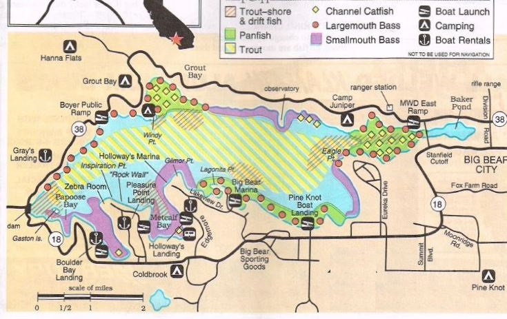 where to fish big bear lake with fishing maps