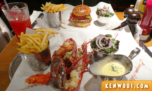 burger and lobster meal