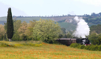 A tour of the Val d'Orcia by steam engine - the Trenonatura