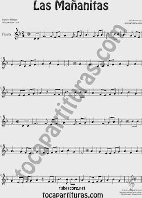 Las Mañanitas Partitura de Flauta Travesera, flauta dulce y flauta de pico Sheet Music for Flute and Recorder Music Scores