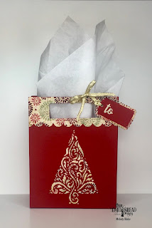 Custom Dies: Flourished Tree Inset, Card Caddy & Gift Bag, Gift Bag Handles & Topper, A Gift for You, Celebration Words, Paper Collection: Christmas 2015