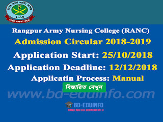 RANC B.Sc in Nursing 5th batch Admission Circular 2018-2019