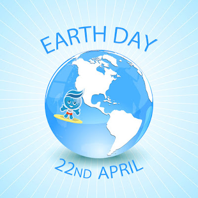 Illustration of Earth and mascot Splashh on a surf board.  Text: Earth Day, 22nd April.
