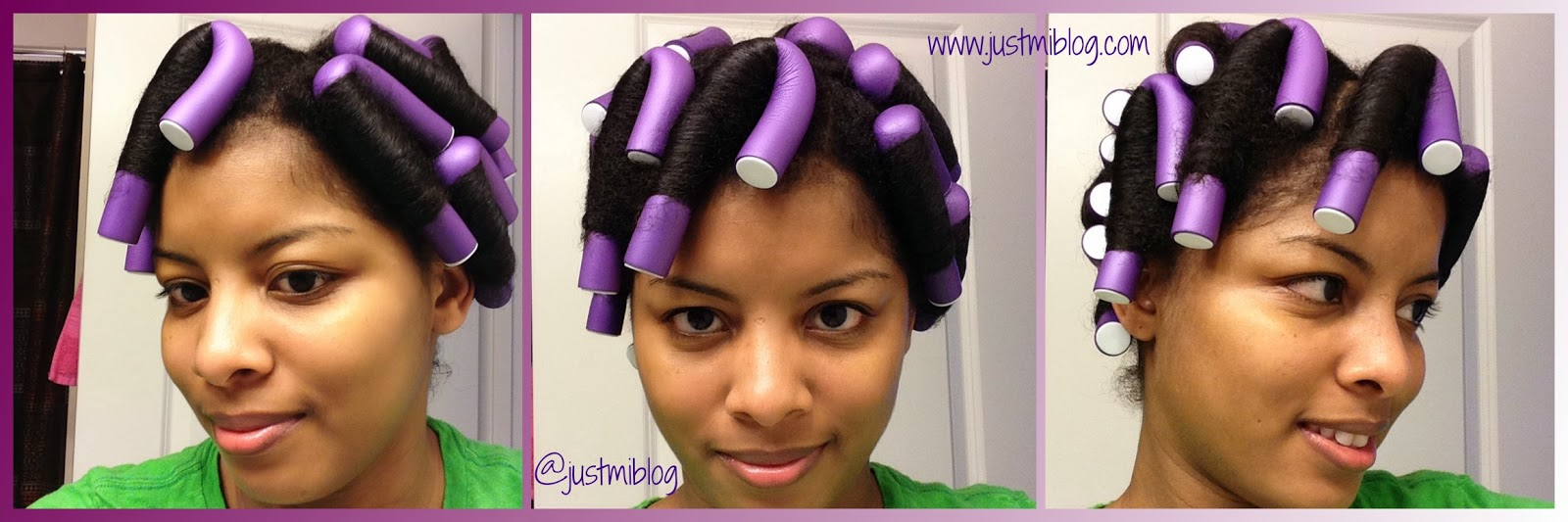 Purple Flexi Rods On Natural Hair