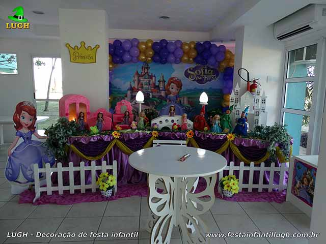 Decoração de aniversário Princesa Sofia - Mesa de festa infantil - Jacarepaguá - RJ