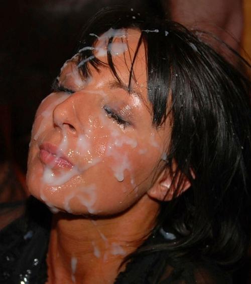 Bukkake glazed face