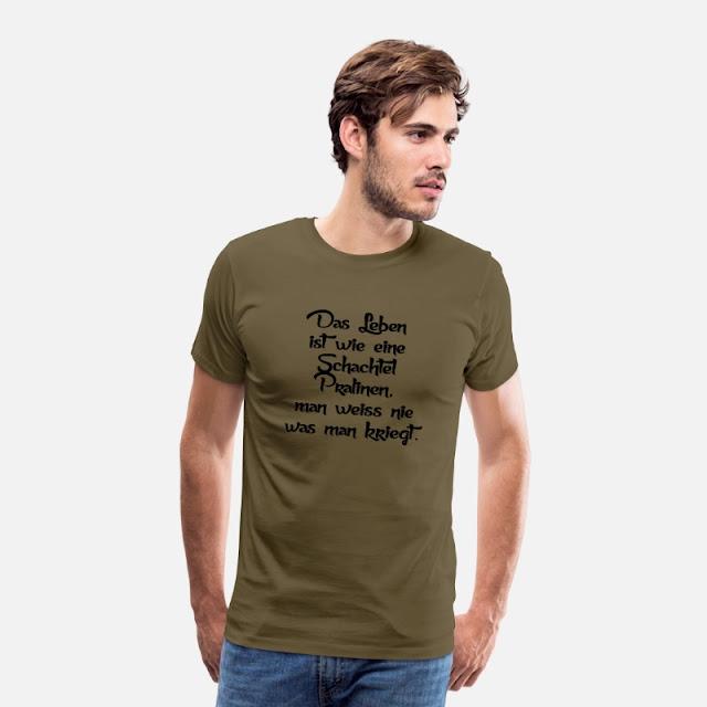 Männer Premium T-Shirt Khaki Das Leben ist wie eine Schachtel Pralinen