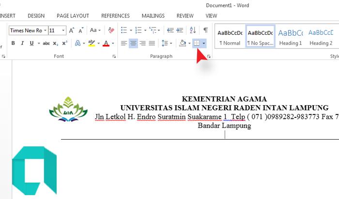 Cara Membuat KOP Surat Resmi Di Word Dengan Logo