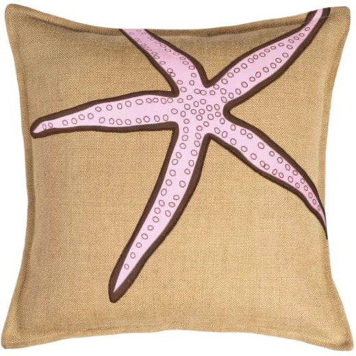 Pink Starfish Burlap Pillow