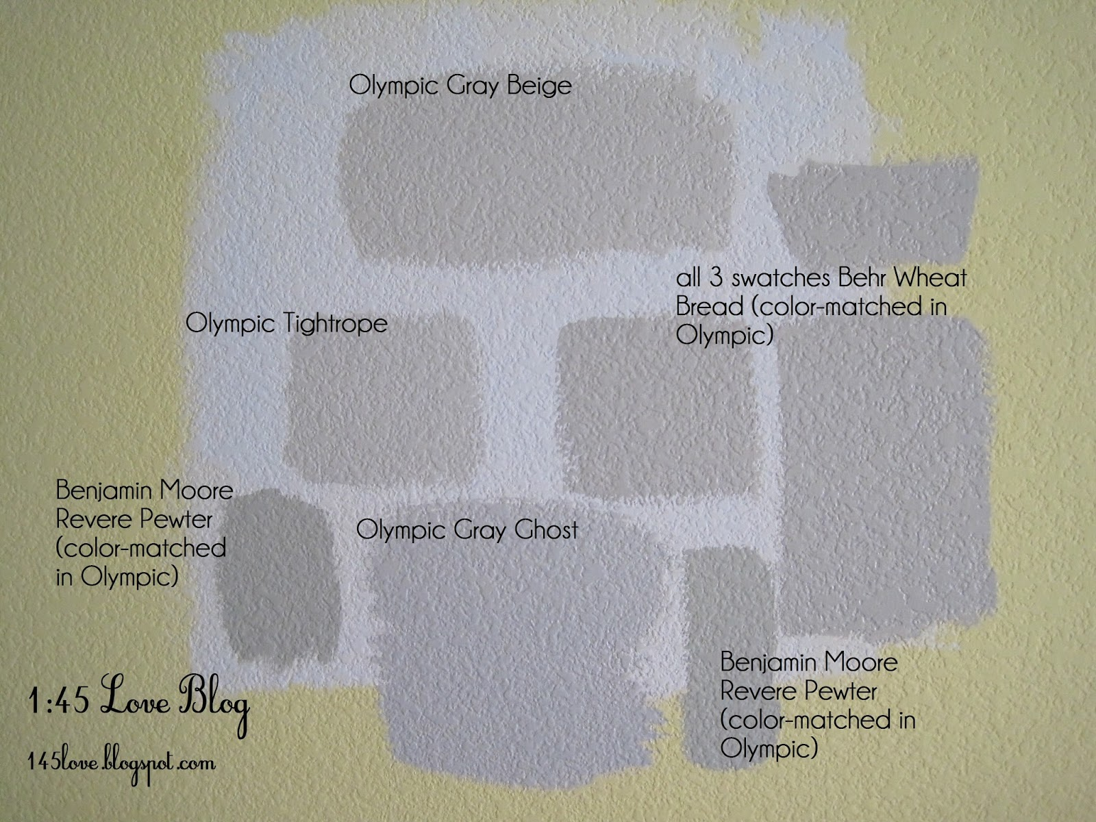Greige paint wall swatches: Olympic Gray Beige, Benjamin ...