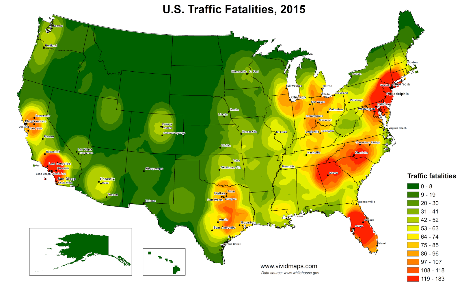 U.S. Traffic Fatalites Heat Map (2015)