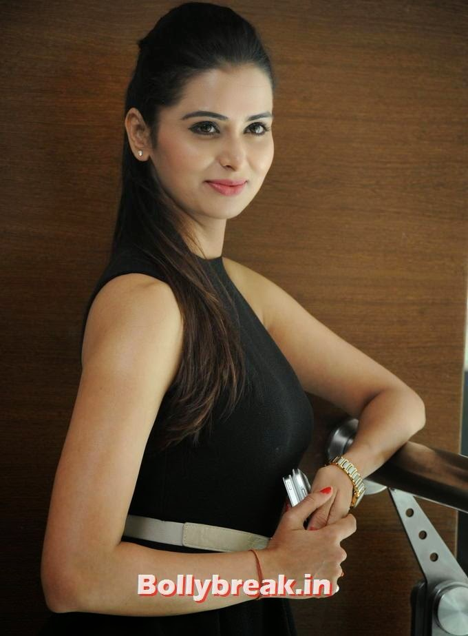 , Tall Indian Actress with Long hair -  Meenakshi Dixit Pics in Black Dress