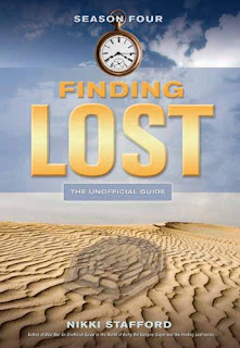 cover to Nikki Stafford's 'Finding 'Lost': The Unofficial Guide, Season Four' depicting the title and other copy mostly in gold over a bright sky above sandy desert terrain onto which falls the shadow of a stopwatch hanging from the top of the image