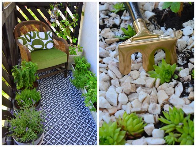 Balkon na zielono z mini skalniakiem w tle.