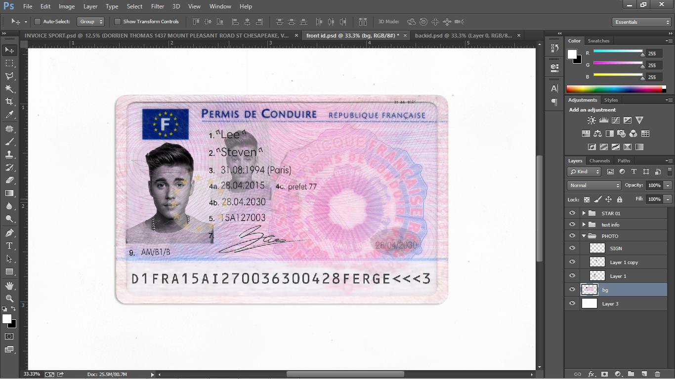 French Driver License (permis de conduire) PSD Template - PSD ...