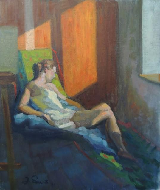 obra de arte impresionista mujer sol pintor aragonés Jesús Sus