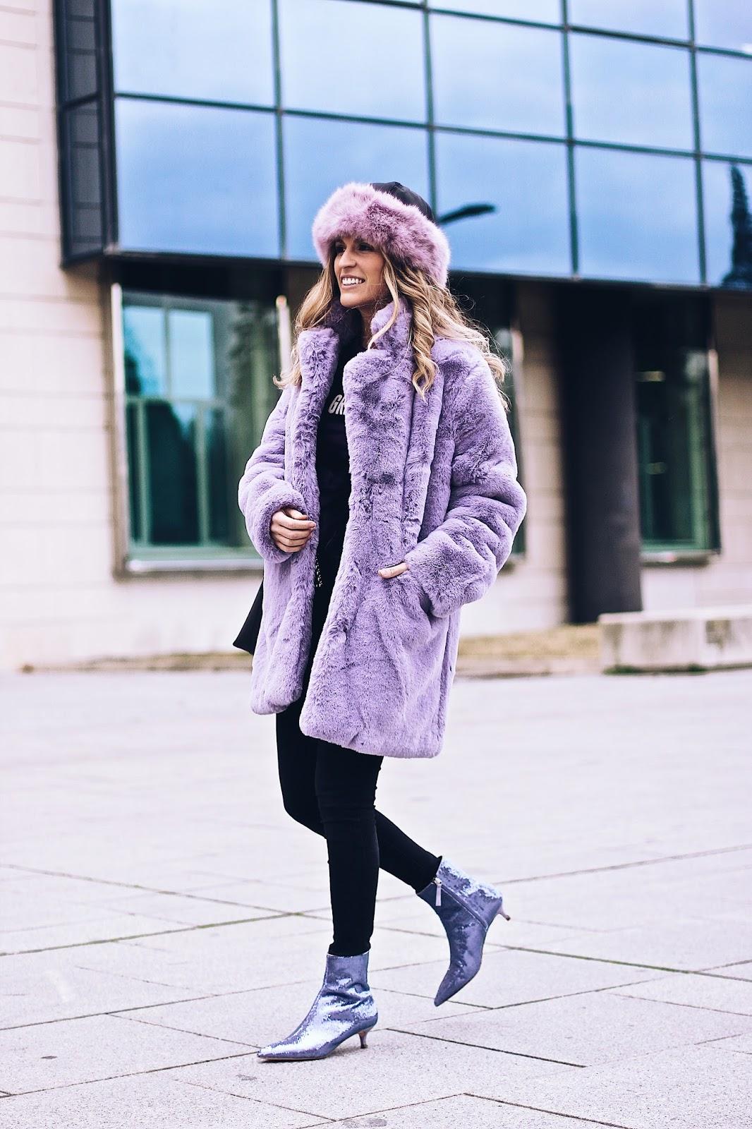 abrigo peluche morado