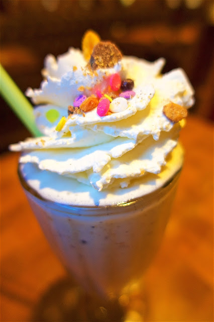 Fat Boy Shake - UV Candy Bar Vodka, Reese's, Pretzels, Sprinkles, Cap'n Crunch, Ore Cookies, Butterfinger - from Holstein's in Las Vegas. It is huge! Get one to share!!
