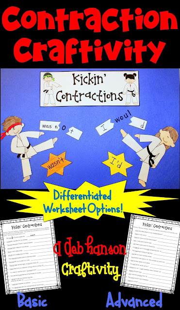 Contractions Craftivity- includes two versions for multiple grade levels!