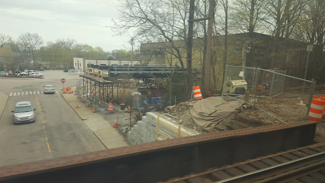 Seen from the Franklin train: the pre-built portion of the bridge to be used as the replacement  is over there on the right. The train is on the bridge to be replaced