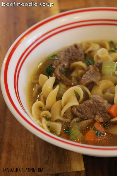 Beef Noodle Soup // When chicken noodle soup meets elements of beef stew, this comforting Beef Noodle Soup is the outcome! #recipe #beef #soup #maindish #pasta