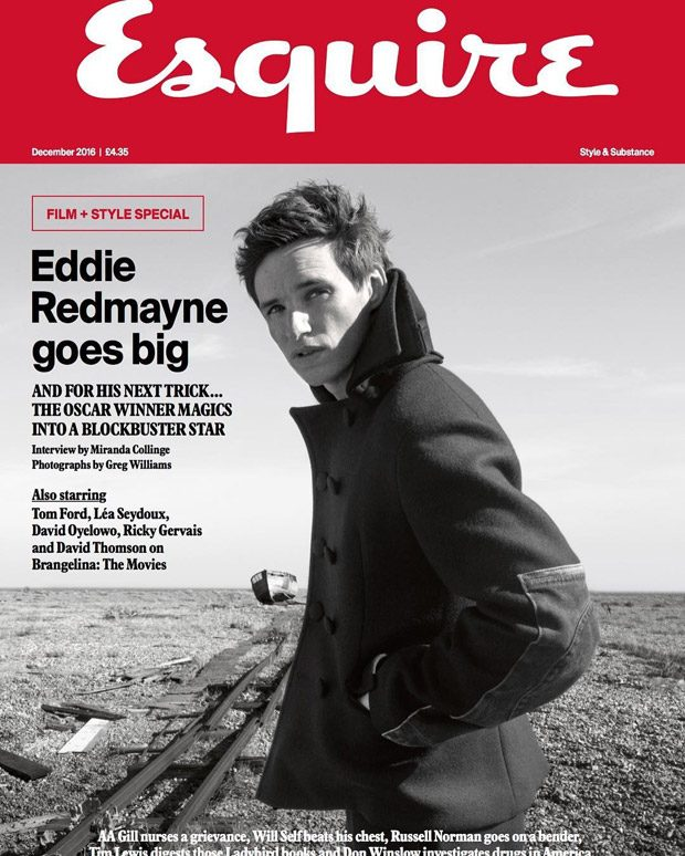 Eddie Redmayne en couverture de Esquire UK - Décembre 2016