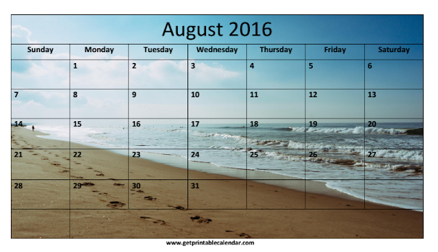 August 2016 Beach Calendar, August 2016 Beach Calendar Printable, August 2016 Beach Calendar Template, August 2016 Beach Blank Calendar