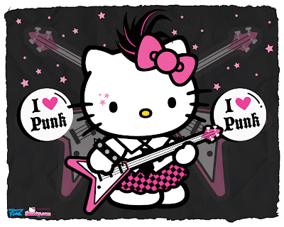 Gambar Hello Kitty Lucu Main Gitar Punk