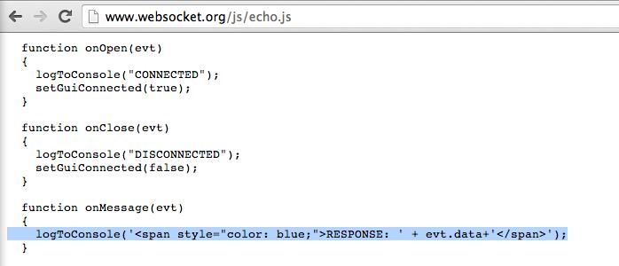 Dinis Cruz Blog: Example of DOM XSS in WebSocket org echo