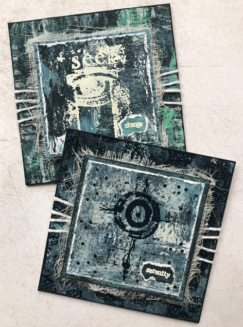 PaperArtsy ESA33, ESA34, ESA39, ESA40 by Seth Apter - with chalk paints, Baked Texture and Gel prints