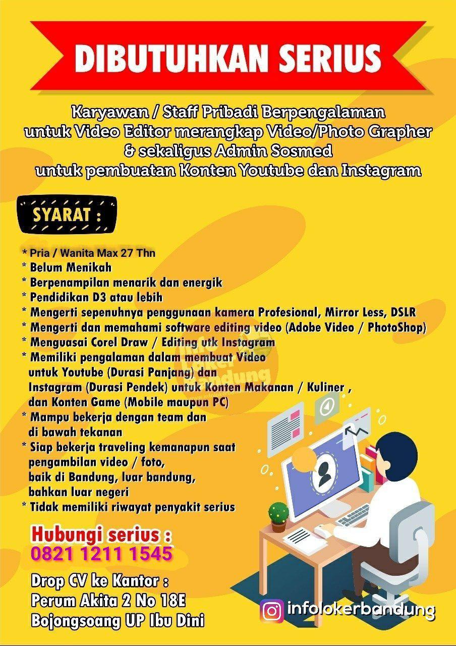 Lowongan Kerja Kameramen sekaligus Editing untuk Video Youtube dan Instagram Ammar Rahmattullah Bandung Maret 2019