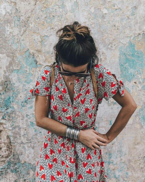 Heart printed Dress