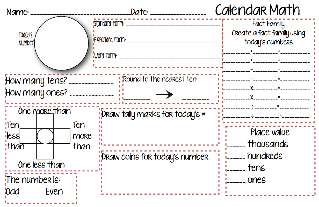 A Teachers Wonderland Calendar Math