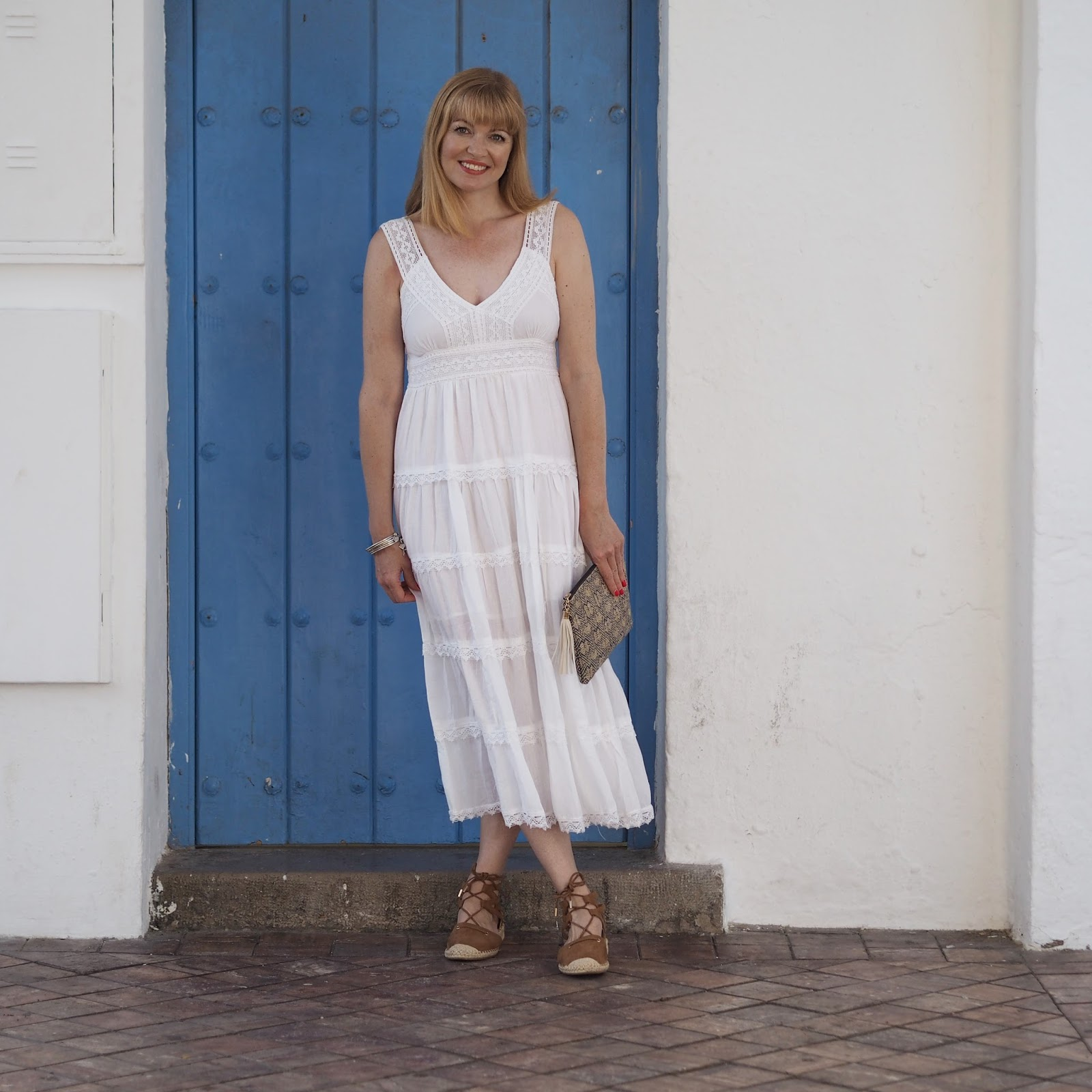 Nerja-packing-white-dress-espadrilles-blue-door