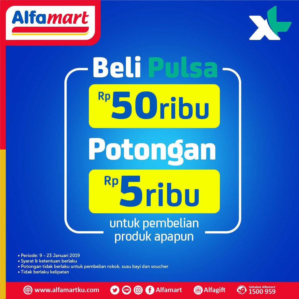 #Alfamart - Promo Beli Pulsa 50K Potongan 5 K Pembelian Produk Apapun