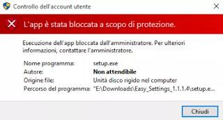 messaggio app bloccata