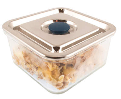 airtight glass food storage with stainless steel lid, square