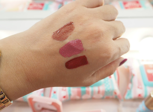 swatch photo of Happy Skin x Sanrio Liquid Matte Lippie in Twinkle Twinkle (brown) Happy Skin x Sanrio Liquid Matte Lippie in Star Wand (pink) Happy Skin x Sanrio Liquid Matte Lippie in Kitty Cat (red)