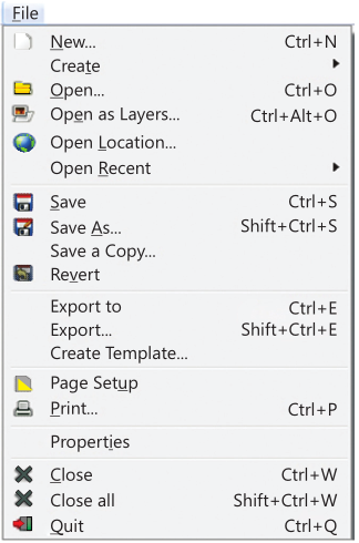 File Menu of GIMP