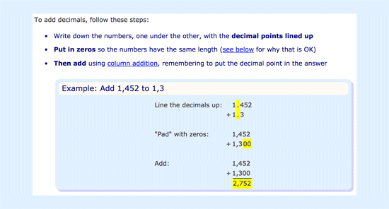 Explanation on how to add decimals