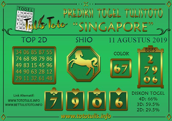 Prediksi Togel SINGAPORE TULISTOTO 11 AGUSTUS 2019