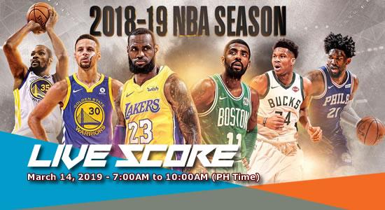 LIVE SCORE LIST: NBA Games March 14, 2019 (7:00AM-10:00AM)