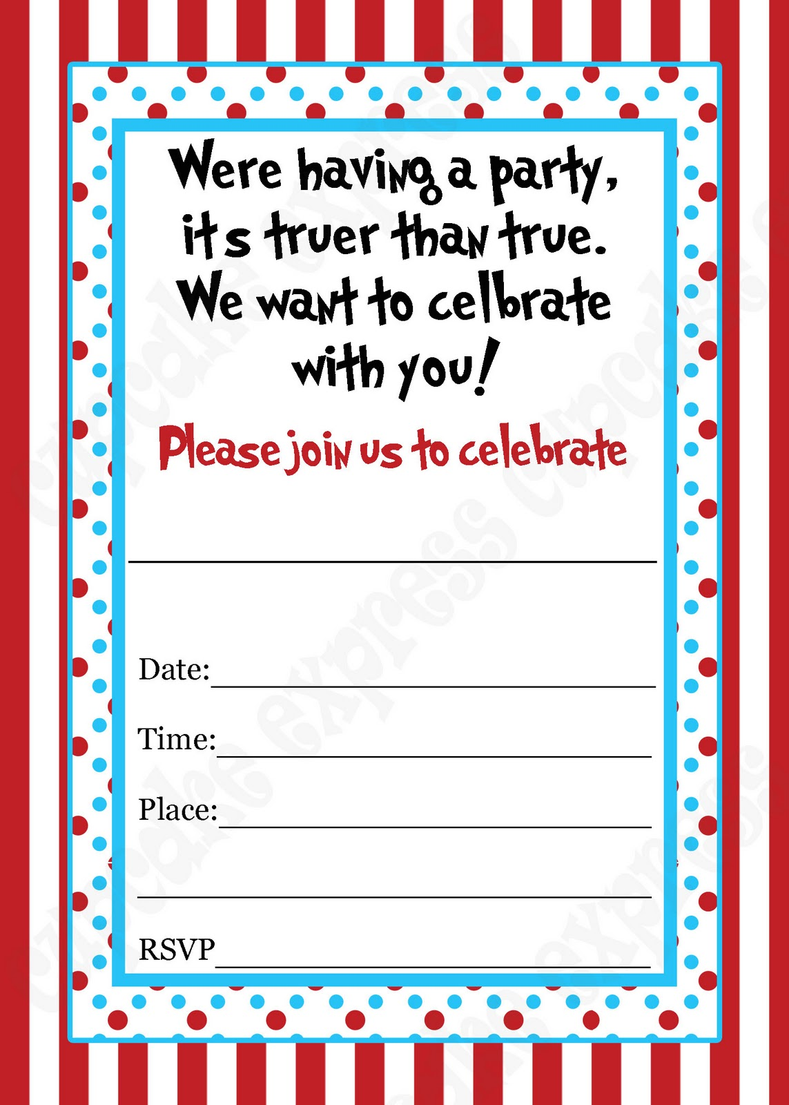 dr seuss birthday card template - 40th birthday ideas blank birthday invitation templates free