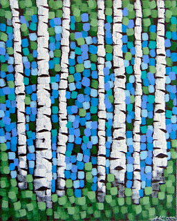 Sparkling Spring Forest painting by artist aaron kloss, acrylic birch tree painting, north shore painting, spring painting, pointillism, duluth painter, duluth artist, amity coffee